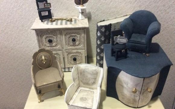 miniature en cartonnage projet  un petit fauteuil